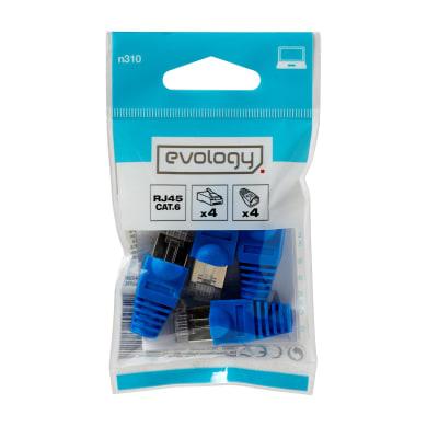 Accessori per telefono, pc e rete RJ45 EVOLOGY 0.04 m blu 4 pezzi