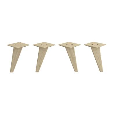 Set 4 piedini SPACEO legno pino opaco  L 12 cm x H 21.6 cm