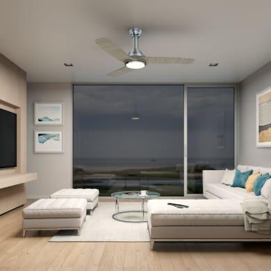 Ventilatore da soffitto LED integrato Gandia, grigio, D. 132 cm, con telecomando
