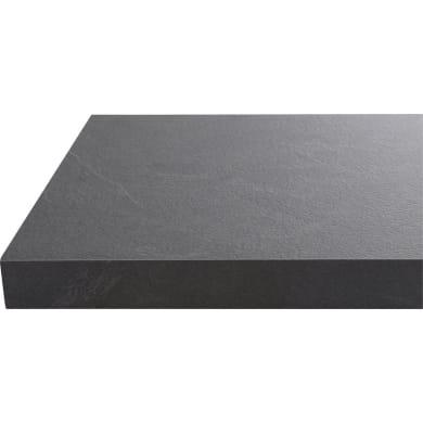 Piano di lavoro in legno nero L 304 x H 63 cm, spessore 3.8 cm