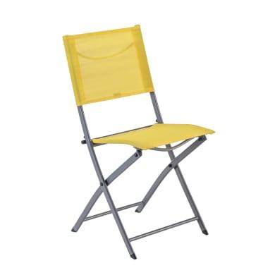 Sedia da giardino senza cuscino pieghevole in acciaio Emys NATERIAL colore giallo