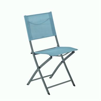 Sedia da giardino senza cuscino pieghevole in acciaio Emys NATERIAL colore blu
