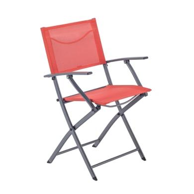 Sedia con braccioli senza cuscino pieghevole in acciaio Emys NATERIAL colore rosso