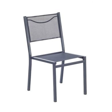 Set tavolo e sedie Omega in acciaio grigio / argento 2 posti