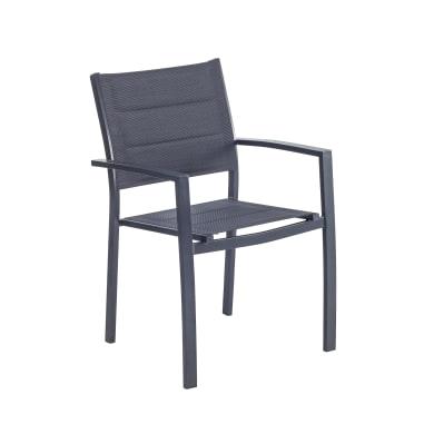 Sedia con braccioli senza cuscino in alluminio Orion Beta NATERIAL colore antracite