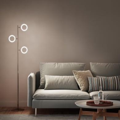 Lampada da terra cromato, in metallo, H150cm LED integrato 3 luci INSPIRE