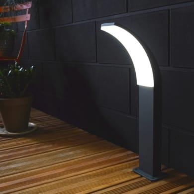 Lampioncino Lakko H56cm LED integrato in alluminio antracite 12W 1000LM IP44 INSPIRE