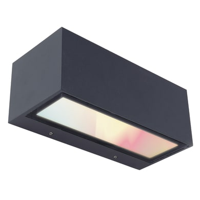 Applique Gemini LED integrato in fusione di alluminio, grigio, 15W 800LM IP54 LUTEC
