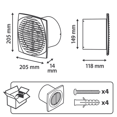 Aspiratore assiale EQUATION Ø 150 mm