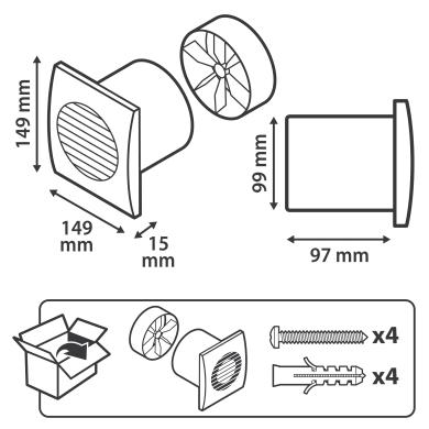 Aspiratore assiale EQUATION Ø 100 mm