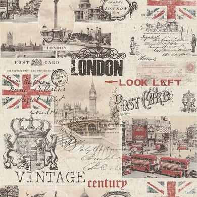 Carta da parati London rosso/beige