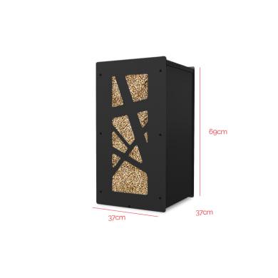 Griglia porta legna GRANULEBOX ARCHI NOIR 55KG in acciaio