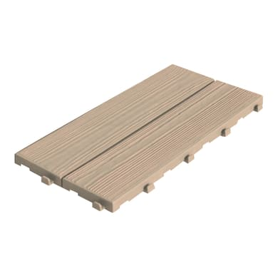 Piastrelle ad incastro ONEK Easywood  14 pezzi in pvc 18.6 x 37.7 cm Sp 17 mm,  marrone chiaro