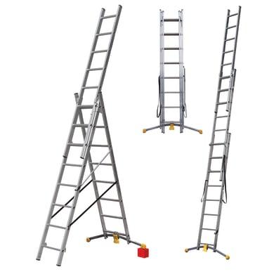 Scala doppia GIERRE trasformabile tripla in alluminio per lavori fino a 5.78 m