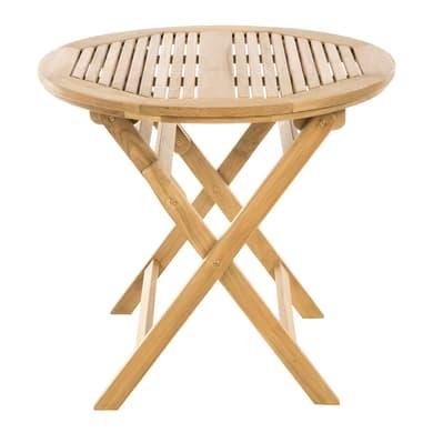 Tavolo da giardino rotondo Amalfi con piano in legno Ø 80 cm