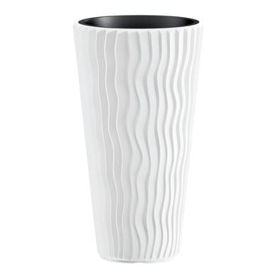 Vaso da coltura Sandy PROSPERPLAST in plastica colore bianco H 53.1 cm, Ø 29.7 cm