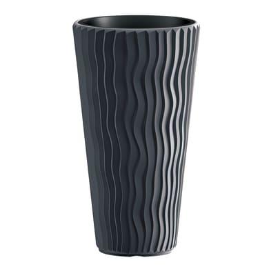 Vaso Sandy PROSPERPLAST in plastica colore antracite H 53.1 cm, Ø 29.7 cm