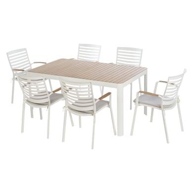 Set tavolo e sedie Portals in acciaio bianco 6 posti