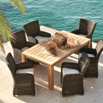 Set tavolo e sedie Australia in rattan marrone 6 posti