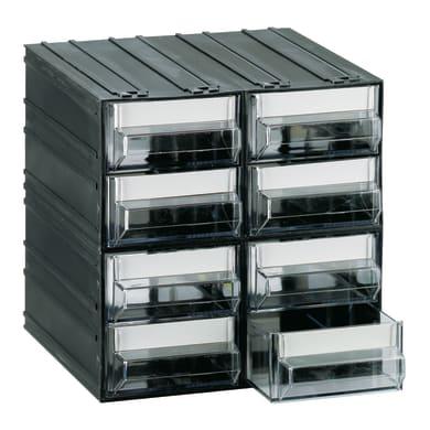 Contenitore per viti con cassetti in plastica nero 8 scomparti