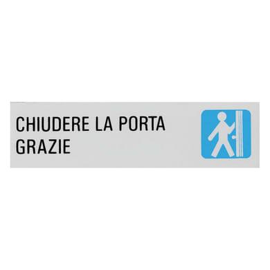 Cartello segnaletico Chiudere la porta grazie vinile 15 x 4 cm