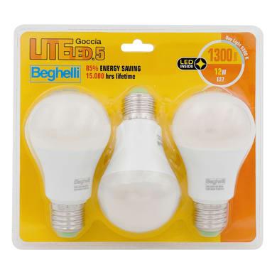 Lampadina LED E27 goccia bianco 12W = 1300LM (equiv 12W) 160° , 3 pezzi