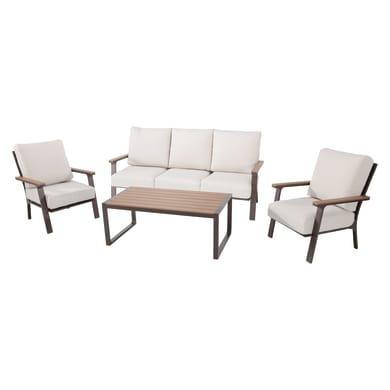 Divano da giardino con cuscino 3 posti in alluminio New York colore marrone
