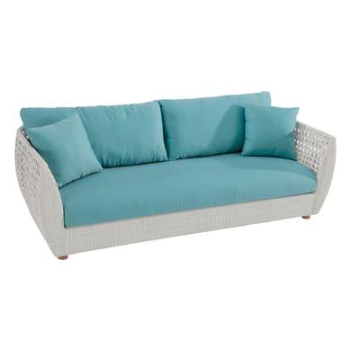 Divano da giardino con cuscino 3 posti in alluminio Voyage colore bianco