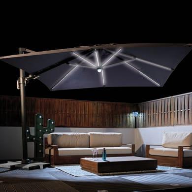 Ombrellone decentrato NATERIAL Samos L 3 x P 4 m color grigio