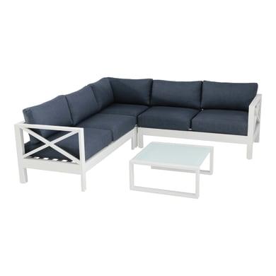 Divano da giardino con cuscino 2 posti in alluminio Luisiana colore bianco