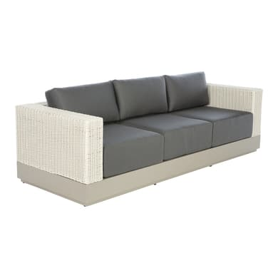 Divano con cuscino 3 posti in alluminio San Lucas colore ecrù