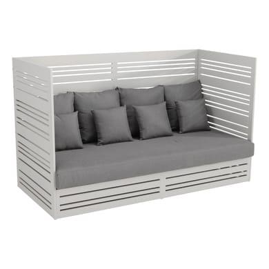 Divano da giardino con cuscino 3 posti in alluminio Arizona colore grigio