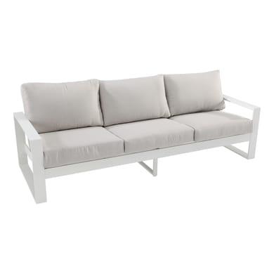 Divano da giardino con cuscino 3 posti in alluminio Las Vegas NATERIAL colore bianco