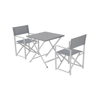 Set tavolo e sedie City in alluminio bianco 2 posti