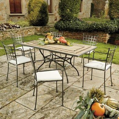 Set tavolo e sedie New Gijon in metallo nero 6 posti