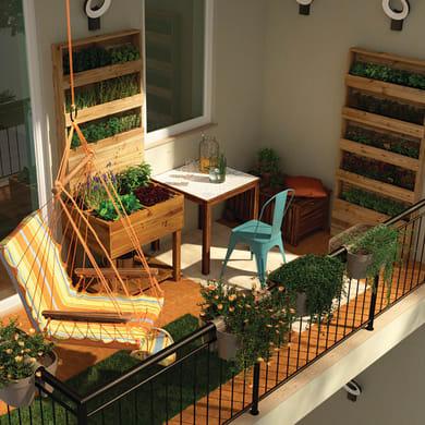 Fioriera per orto alta in legno 10-56. verde L 60 x P 24 x H 80 cm