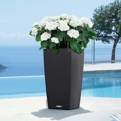 Vaso Cubico Cottage LECHUZA in plastica colore grigio H 56 cm, L 30 x P 30 cm