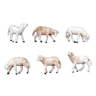 Confezione pecore in plastica 6 pezzi H 10 cm