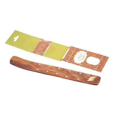 Portacandela in legno naturale H 20 cm, L 2 x