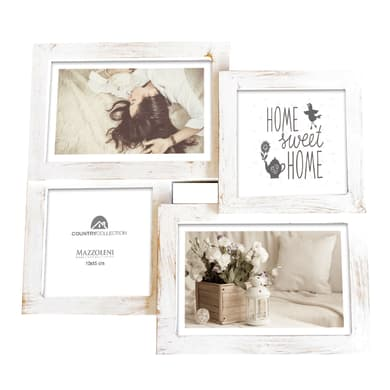 Cornice Shabby per 4 fotografie 10 x 15 bianco