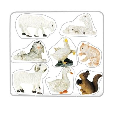 Confezione animali in resina 8 pezzi H 4 cm