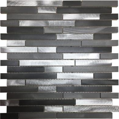 Mosaico Urban Barrette H 30 x L 30 cm grigio argento