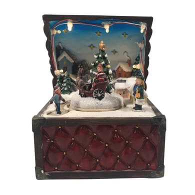 Cofanetto con scenetta natalizia a LED in plastica H 15.5 cm, L 12 cm  x P 11 cm