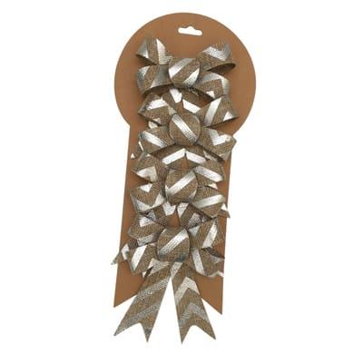 Set 4 fiocchi in tessuto oro e argento