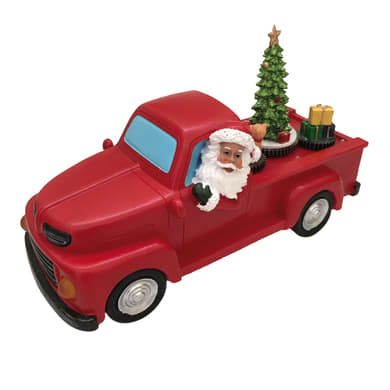 Furgone con Babbo Natale  in plastica H 16 cm, L 27.5 cm  x P 11.5 cm