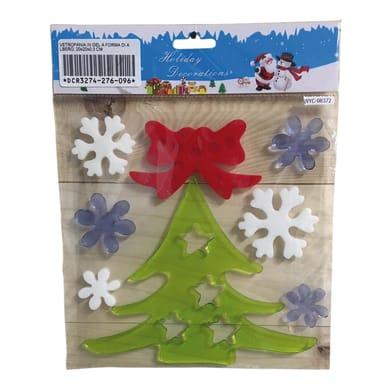 Sticker Albero di Natale e fiocchi di neve 20x20 cm