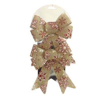 Set 2 fiocchi in juta dorati con decorazione rossa , L 13 cm