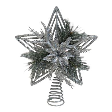 Puntale per albero di natale grigio / argentoin metallo H 30 cm