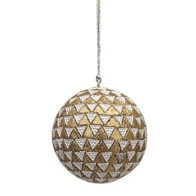 Sfera natalizia decorata in tessuto oro e argento Ø 8 cm