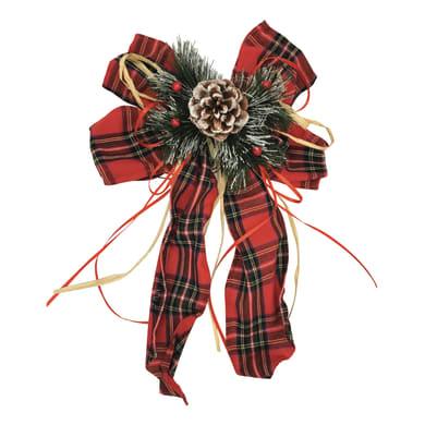 Fiocco in tessuto a fantasia scozzese rossa